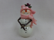 Snowgirl in pink hat